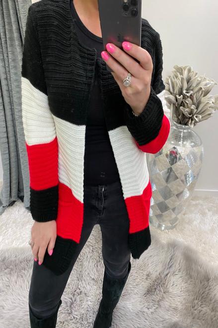 Manuela Black & Red Colour Block Knitted Pocket Cardigan