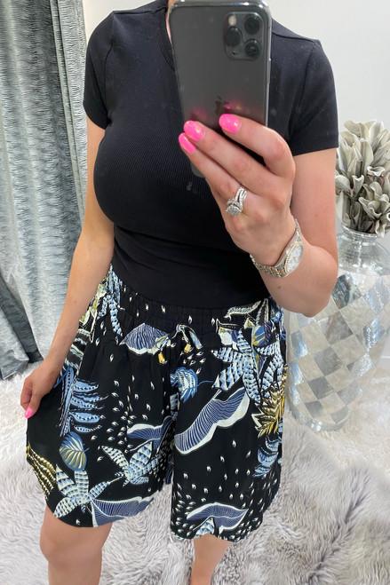 Makayla Black Floral  Shorts