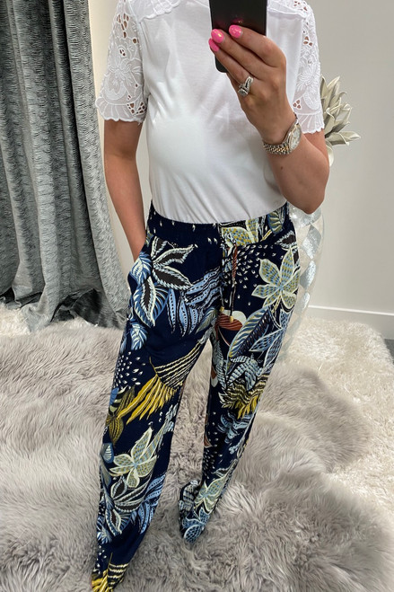 Makayla Navy Wide Leg Trousers