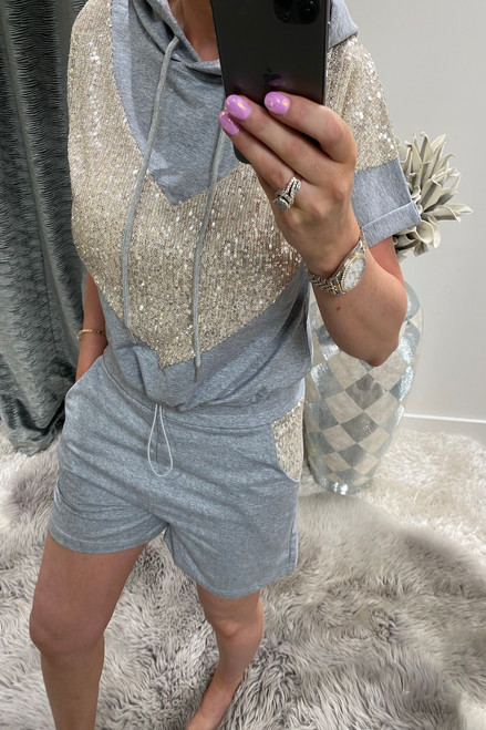 Grey Sequin Hooded Two Piece