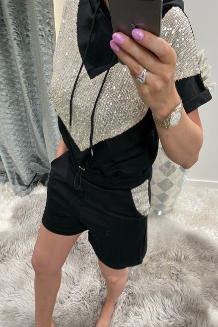 Black Sequin Hooded Two Piece