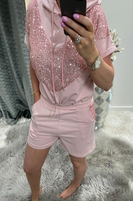 Pink Sequin Hooded Two Piece