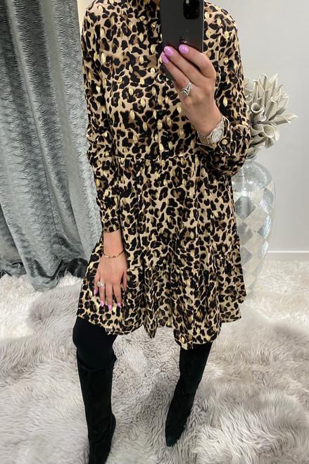 Leopard & Gold Metallic Button Dress