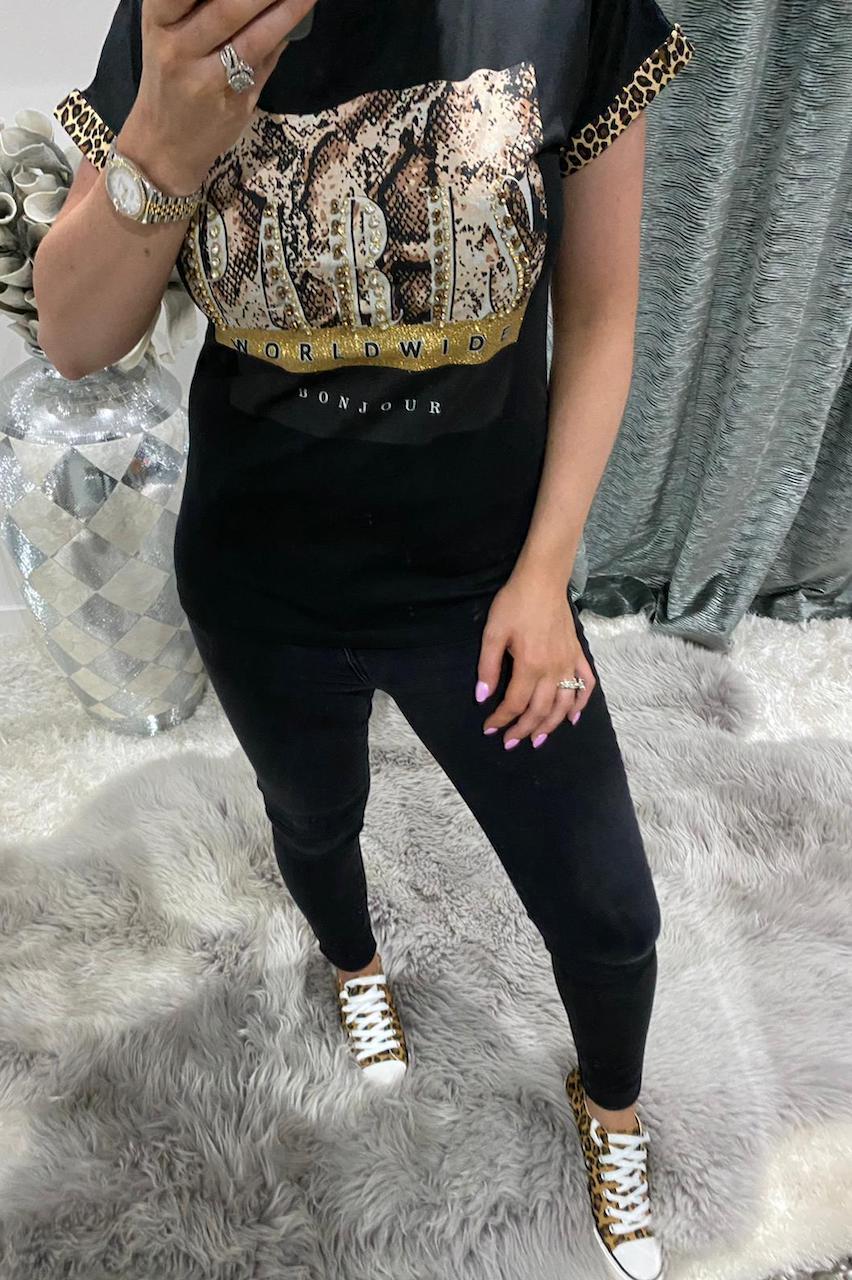 Black  'Paris' T-Shirt