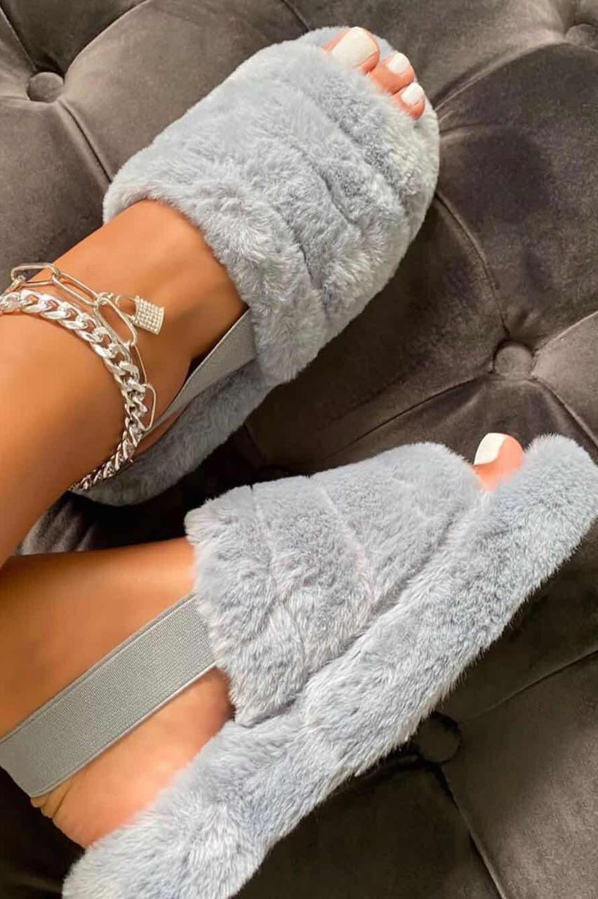 Grey Fluffy Sliders with Elasticated Heel Strap