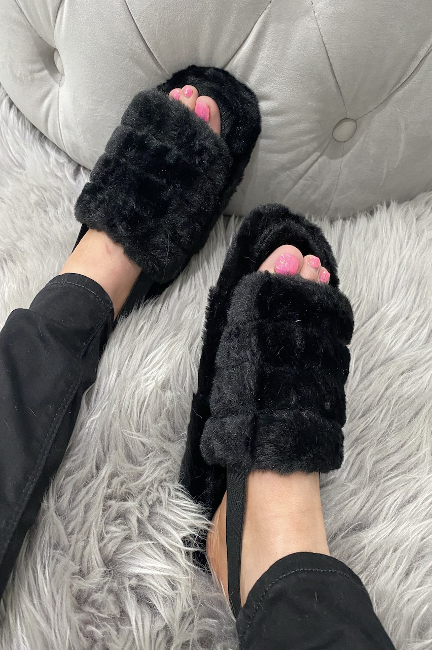 Black Fluffy Sliders with Elasticated Heel Strap