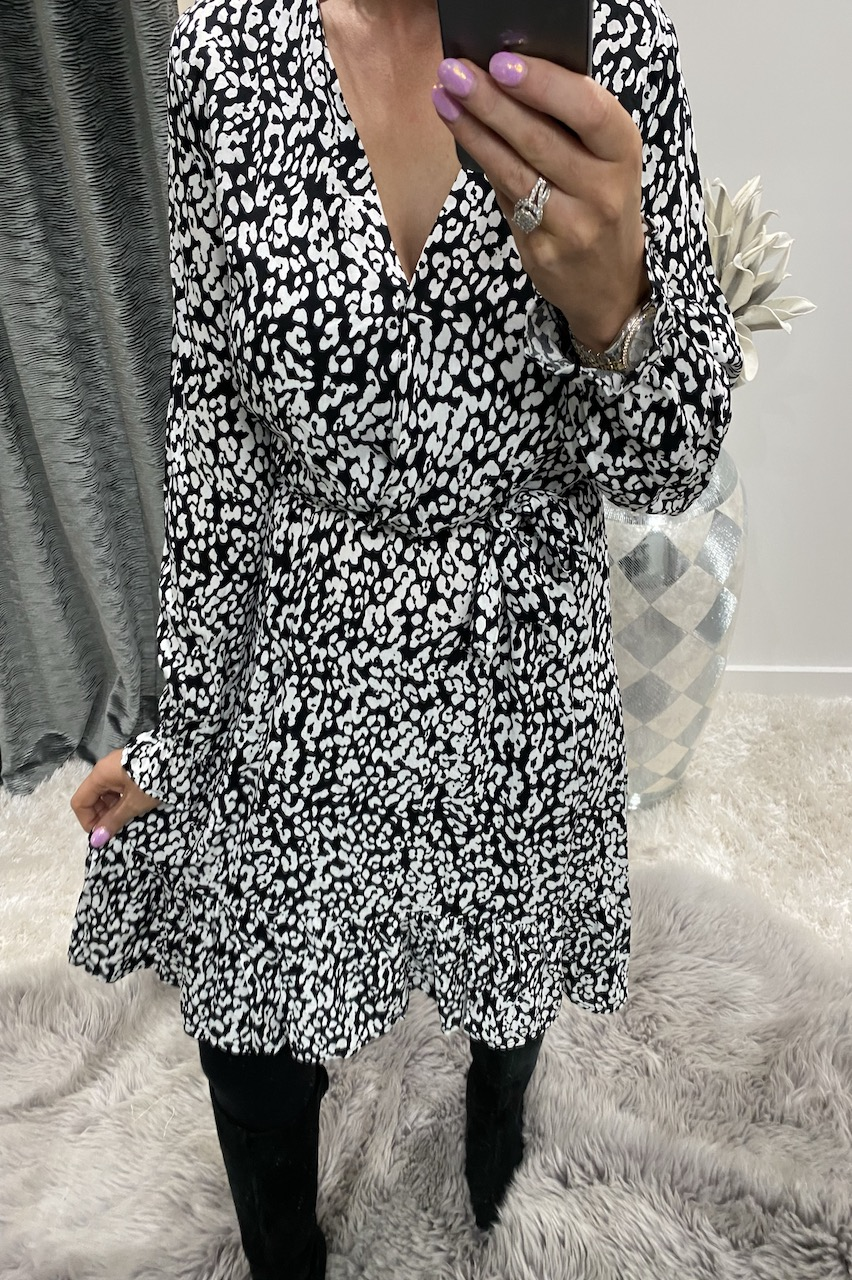 Becca Black and White Wrap Over Midi Dress