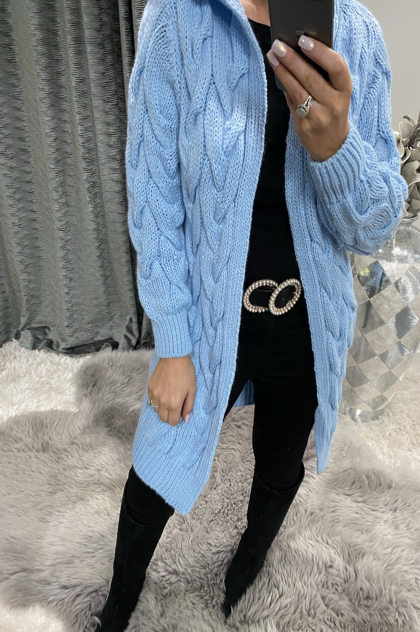 Sky Blue Snuggles Twisted Knit Hooded Cardigan