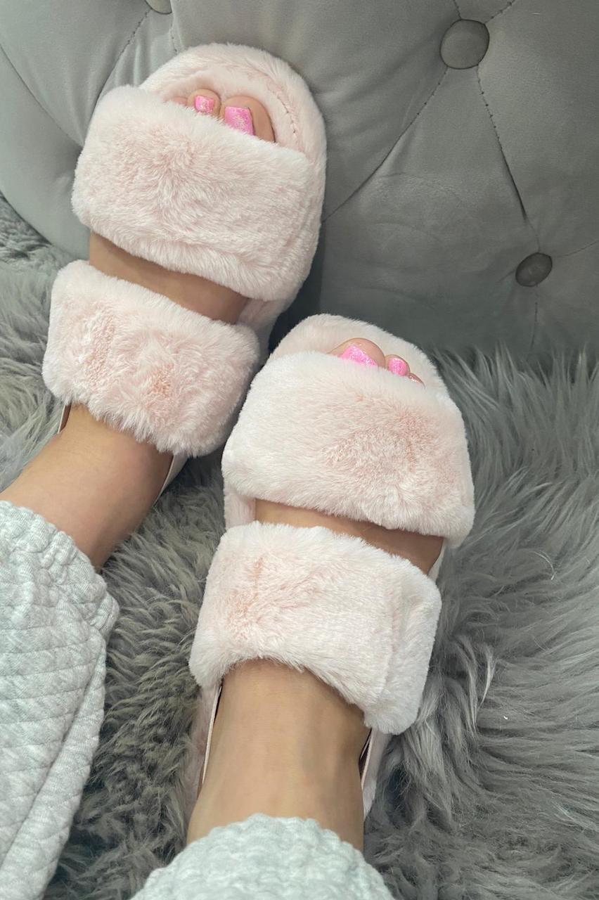Baby Pink Cosy Fluffy Sliders