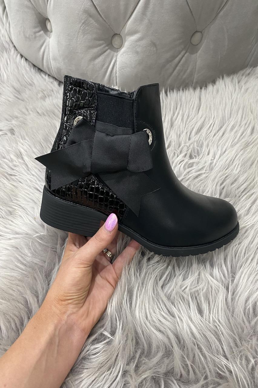 Liza Black Croc Bow Chelsea Boots.