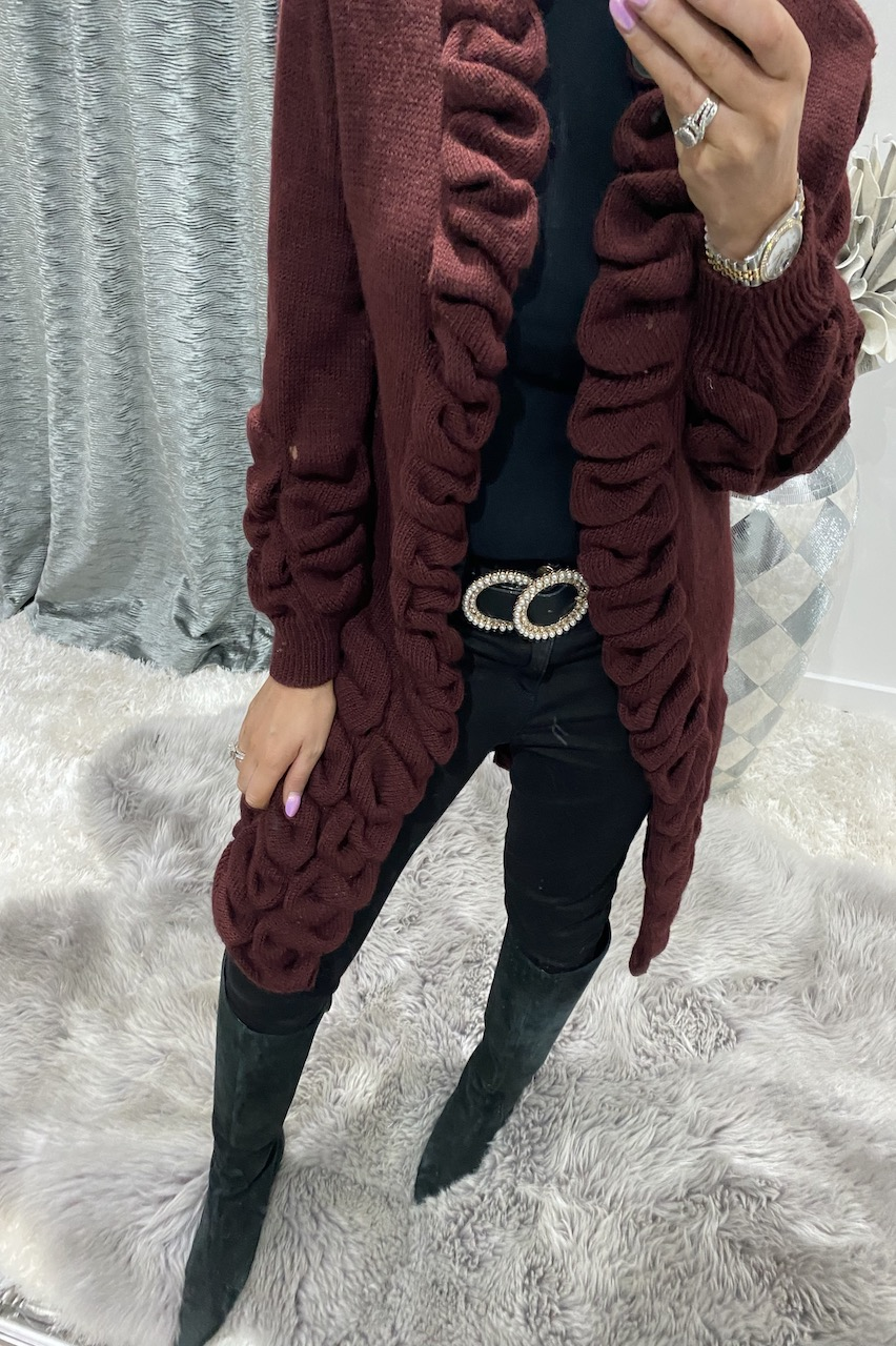 Wine Antoneli Knitted Cardigan