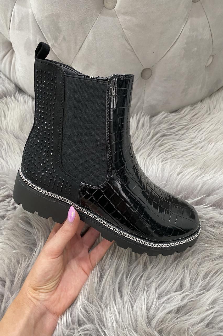 Black Mattone Sparkle Croc Chelsea Boots.
