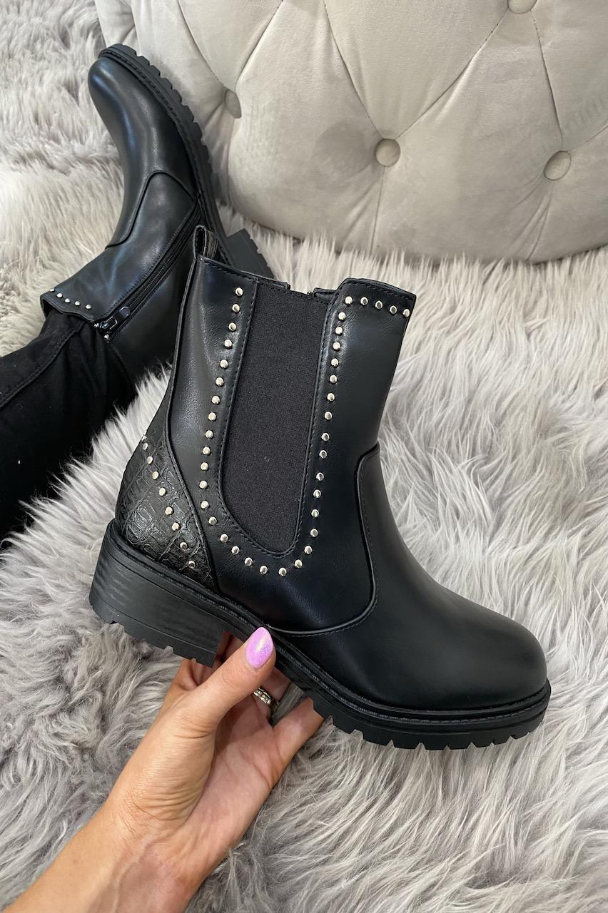 Suki Black Studded Chelsea Boots.