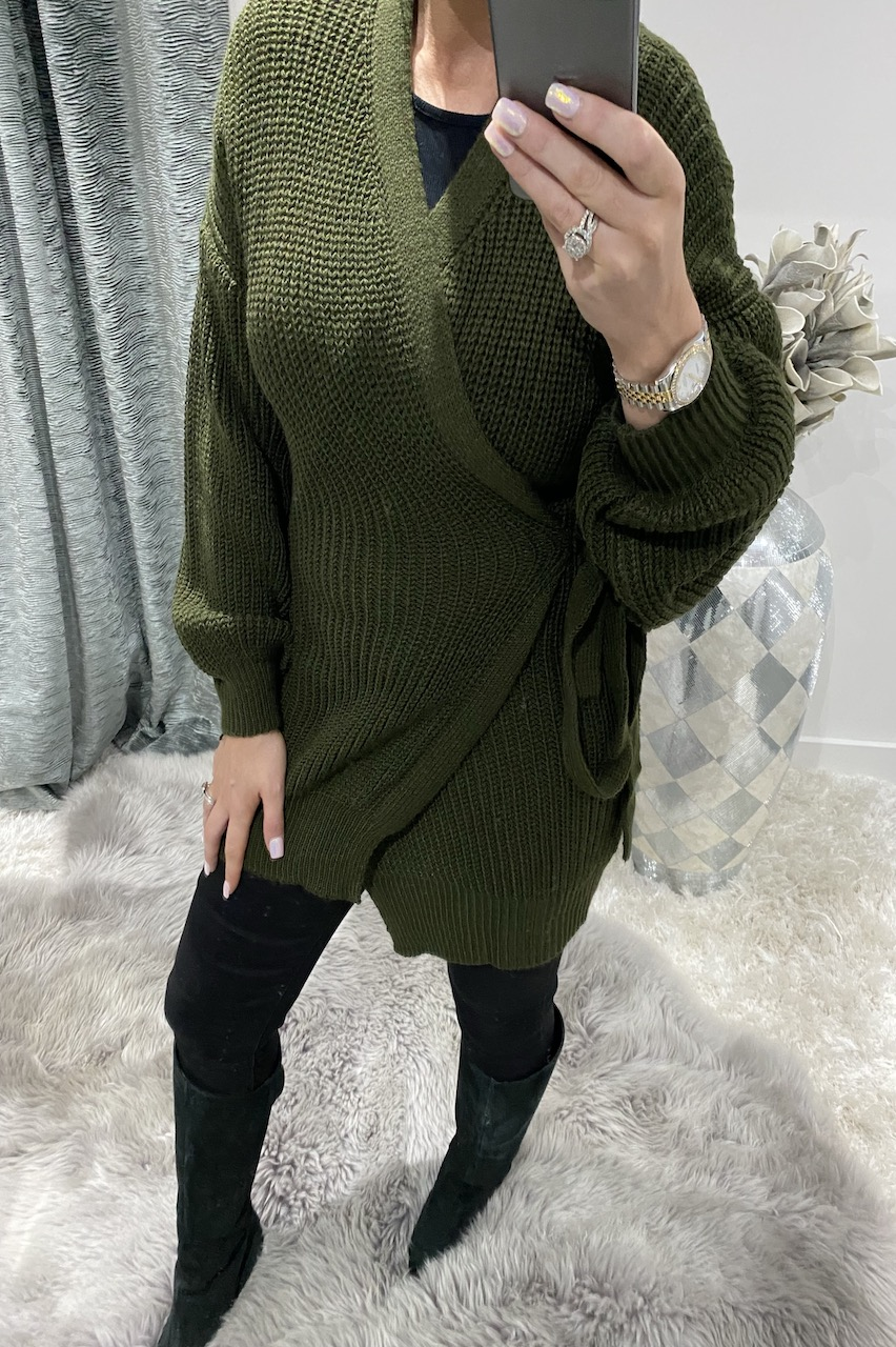 Khaki Throw It On Tie  Knitted Cardigan