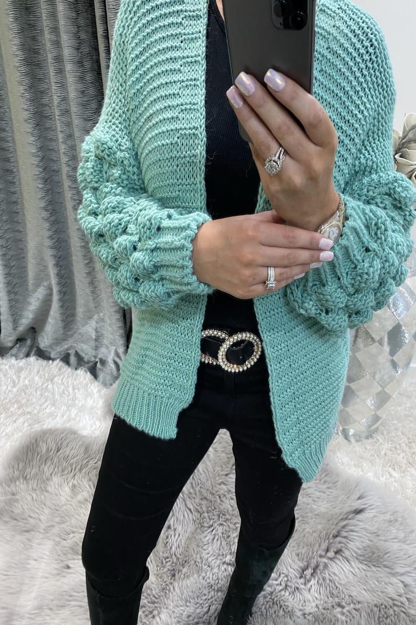 Turquoise  Luzabella Bubble Sleeve Knitted Cardigan