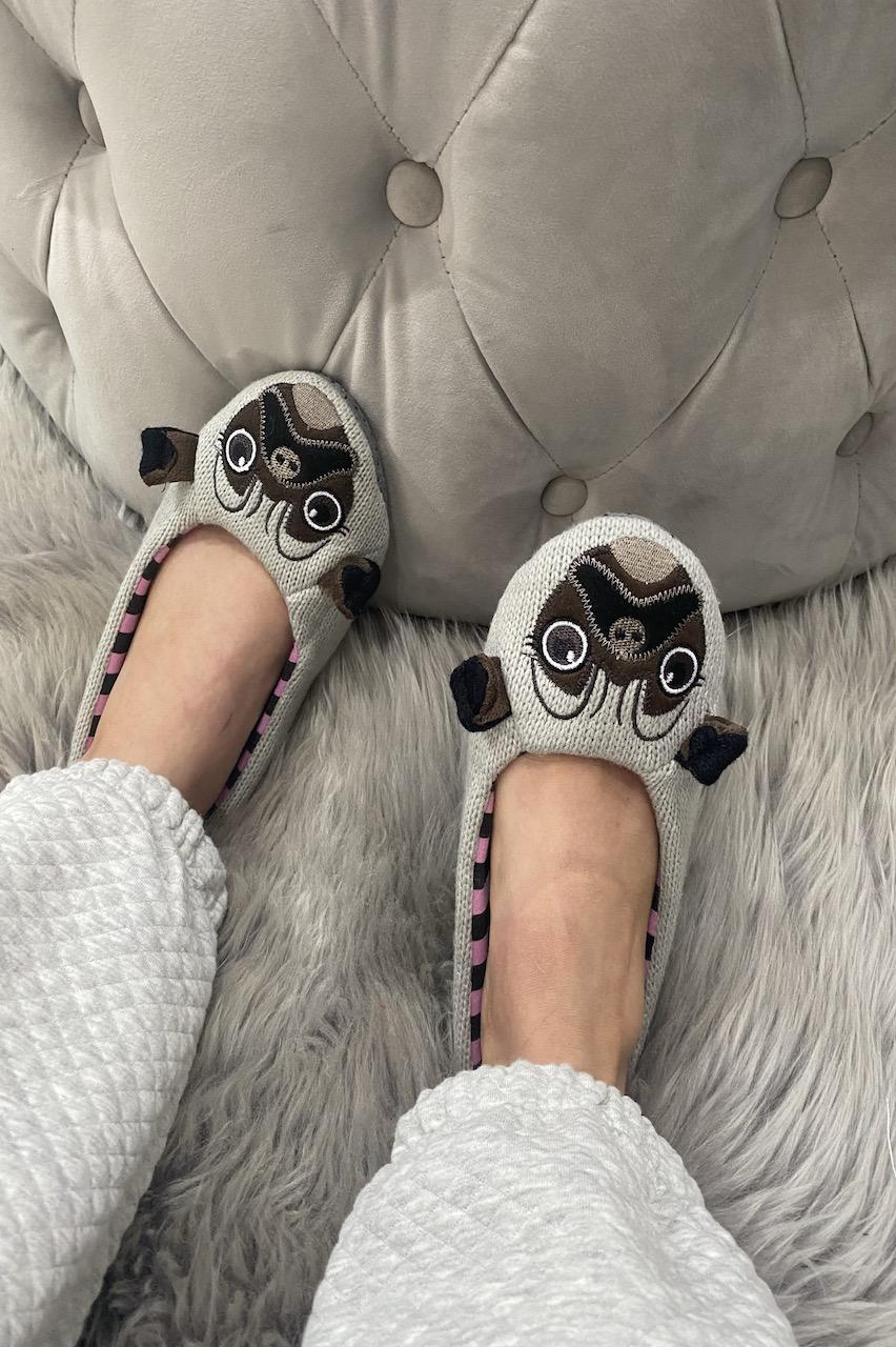 Grey Pug Slippers