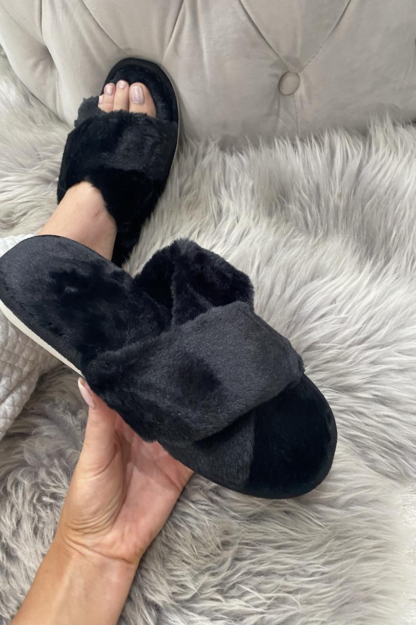 Black Cross Strap Fluffy  Slippers