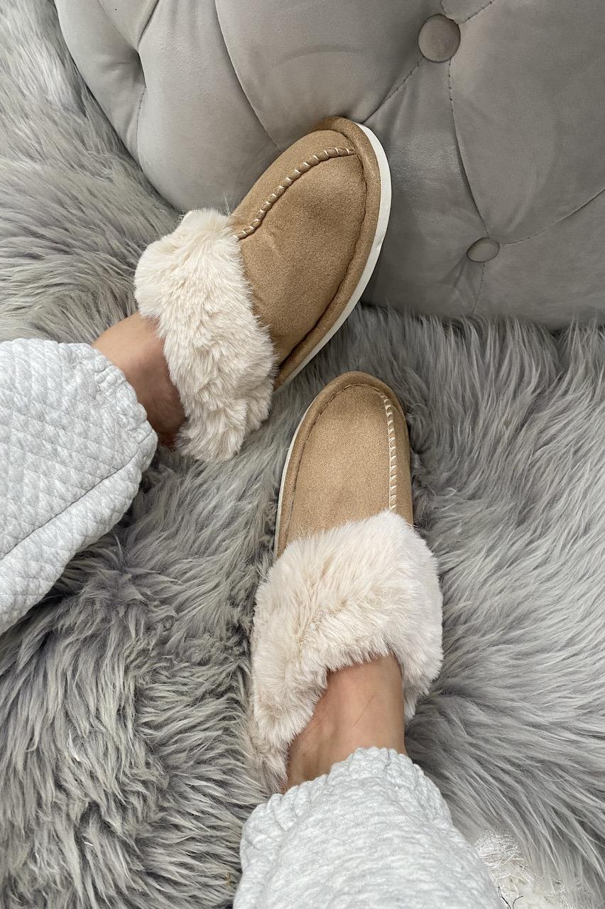 Luxury Tan Mule Fluffy  Slippers