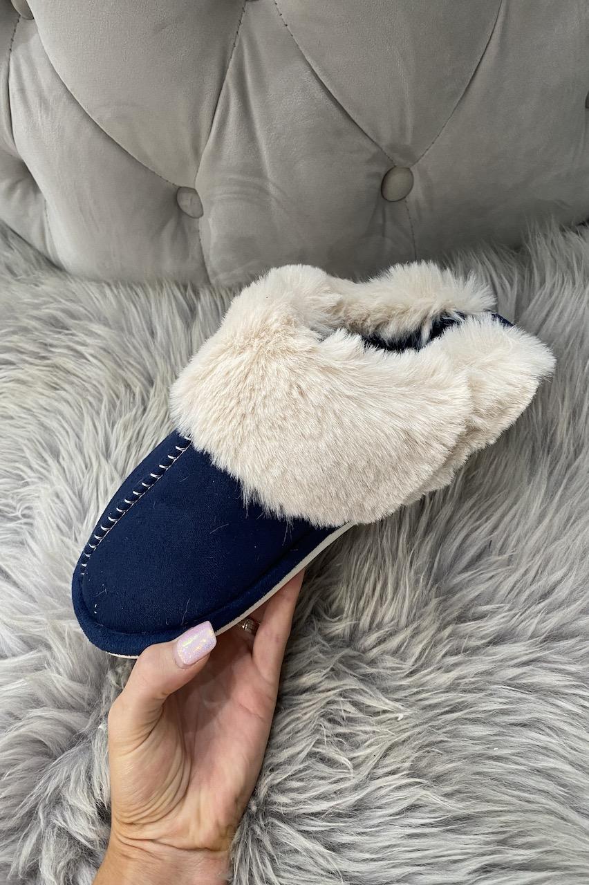 Luxury Navy Mule Fluffy  Slippers