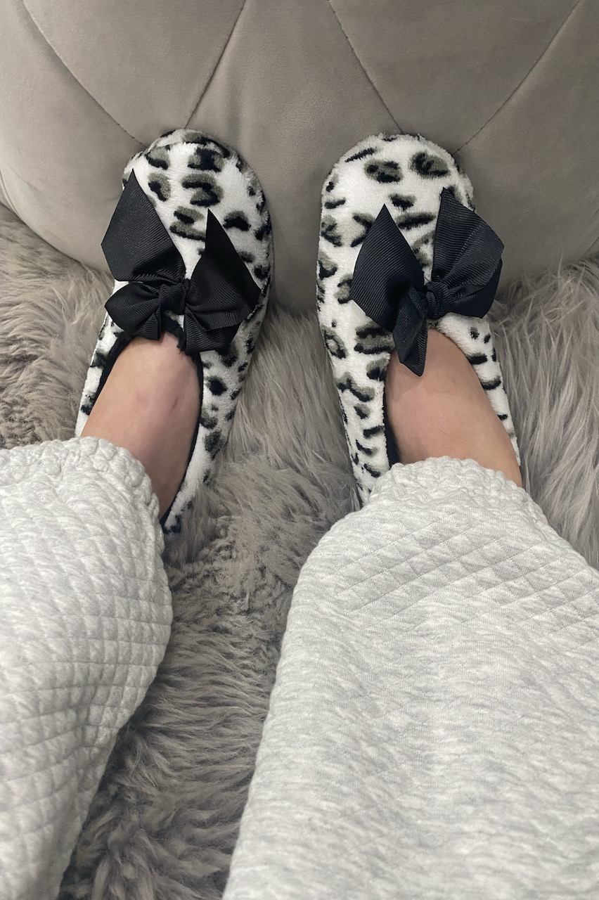 Black and White Cheetah Co-zees Slippers