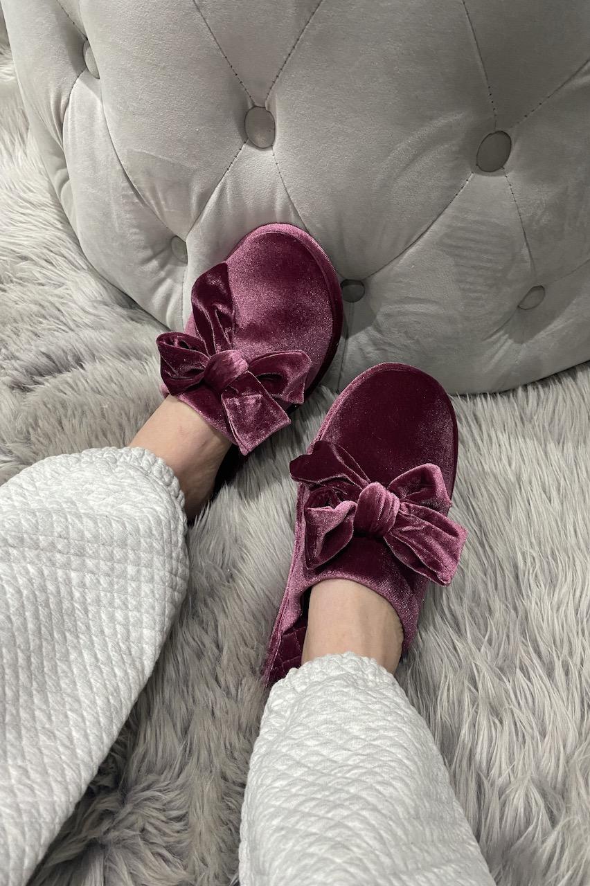 Burgundy Velour Bow Slippers