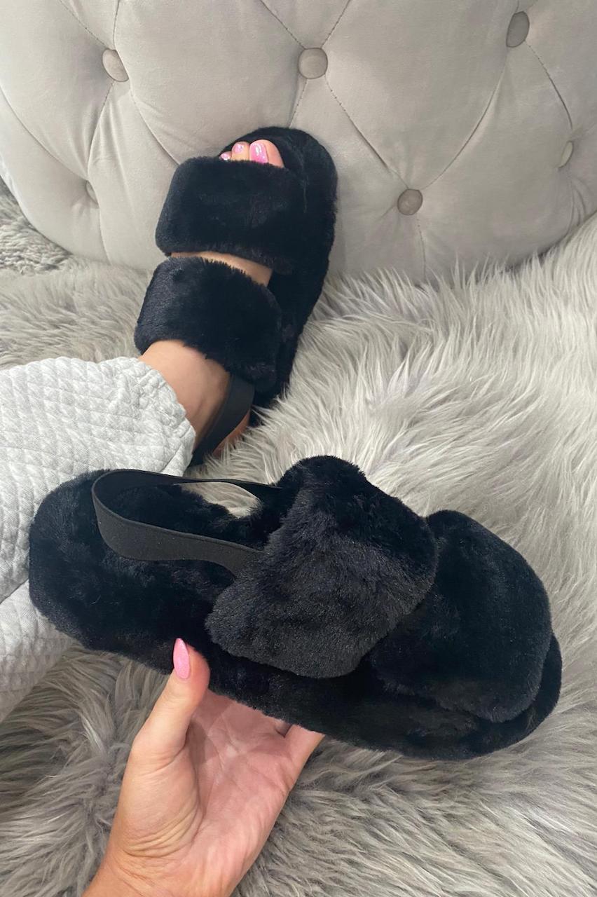 Black Cosy Fluffy Sliders