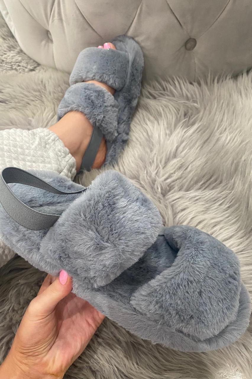 Grey Cosy Fluffy Sliders