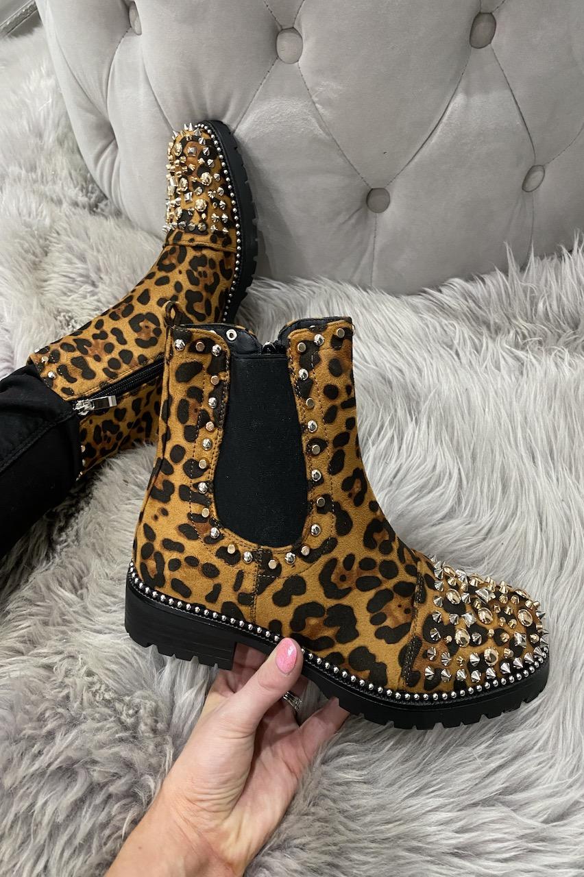 Maraya Leopard Studded Chelsea Boots