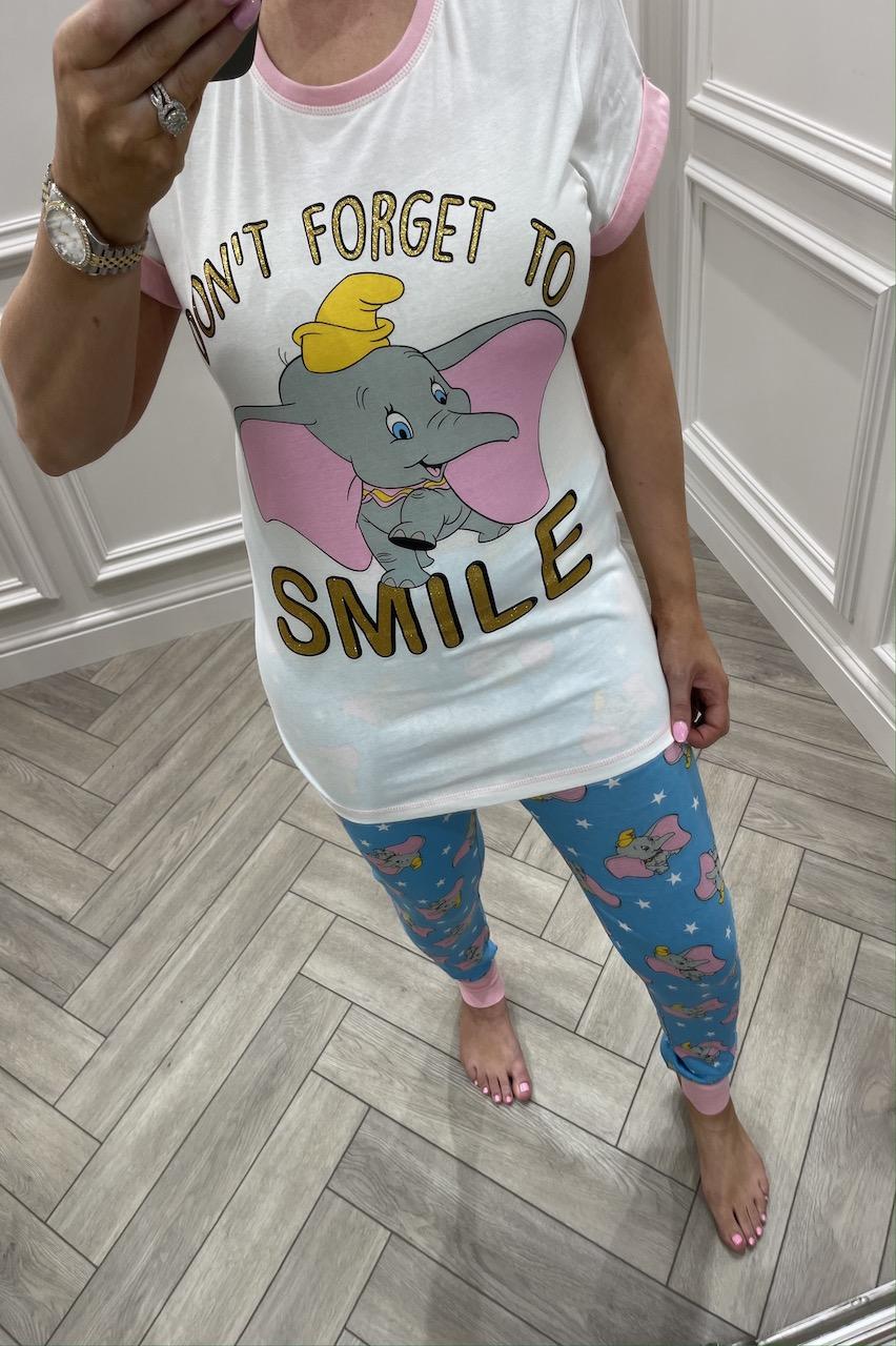 Ladies Dumbo Don't Forget To Smile Pj's
