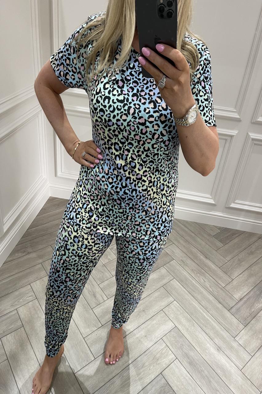Ladies Rainbow Leopard  Pj's