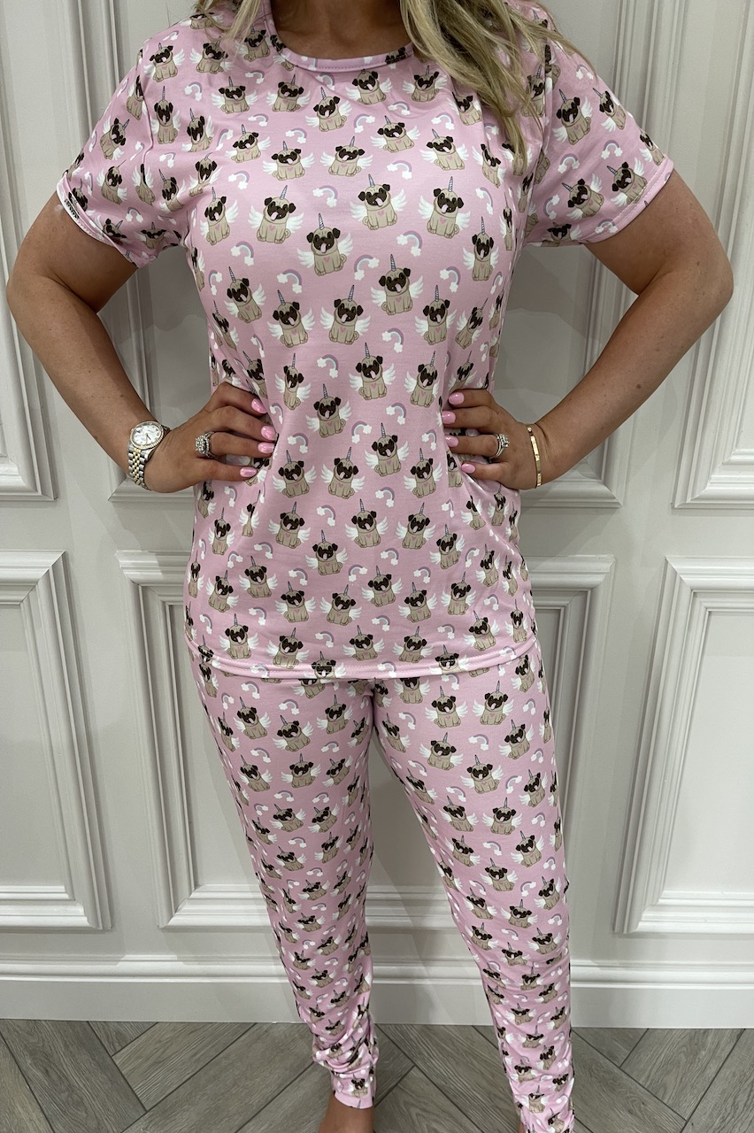 Ladies Pink Uni Pug  Pj's