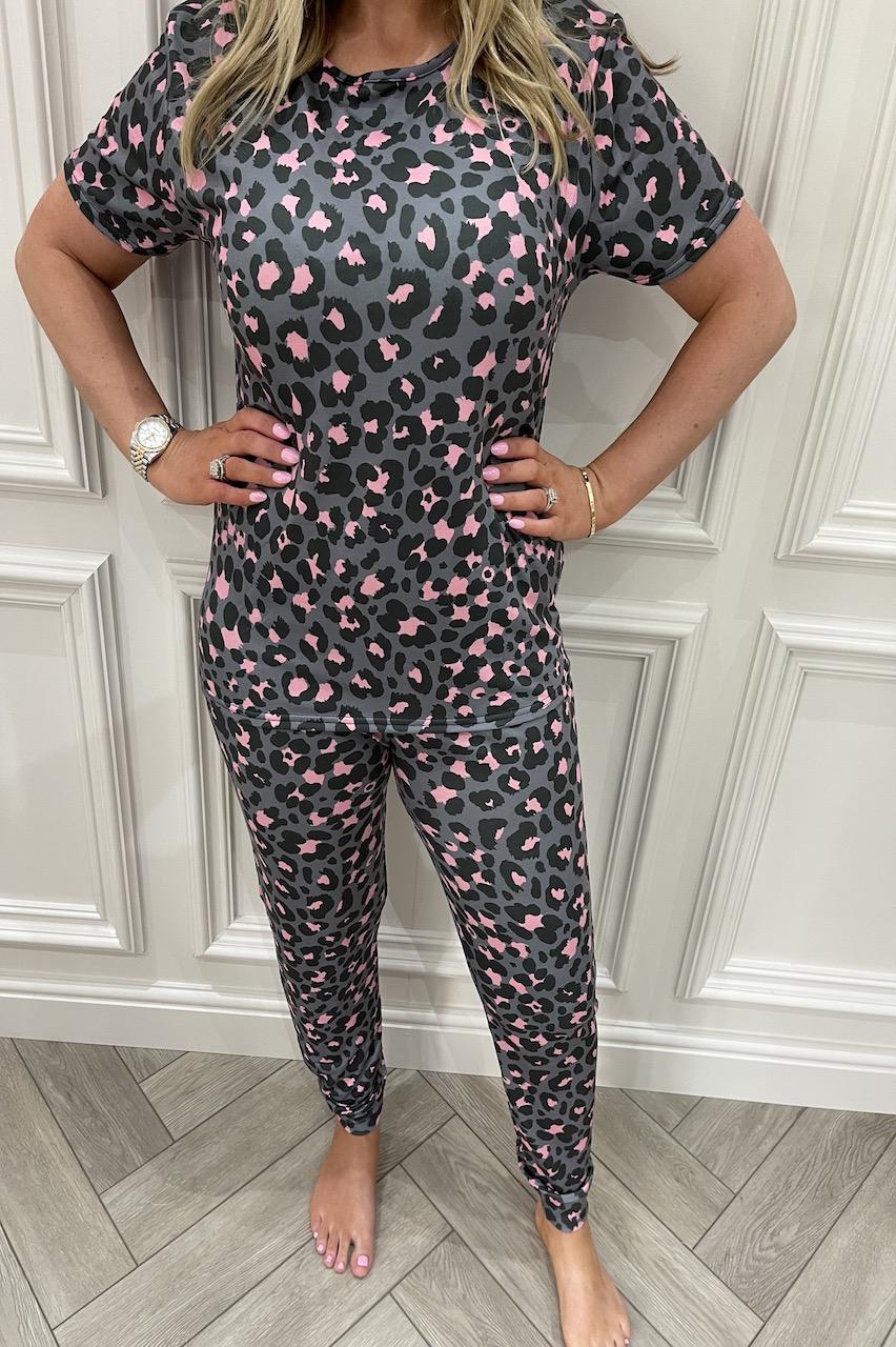 Ladies Grey Leopard Pink Spot Pj's
