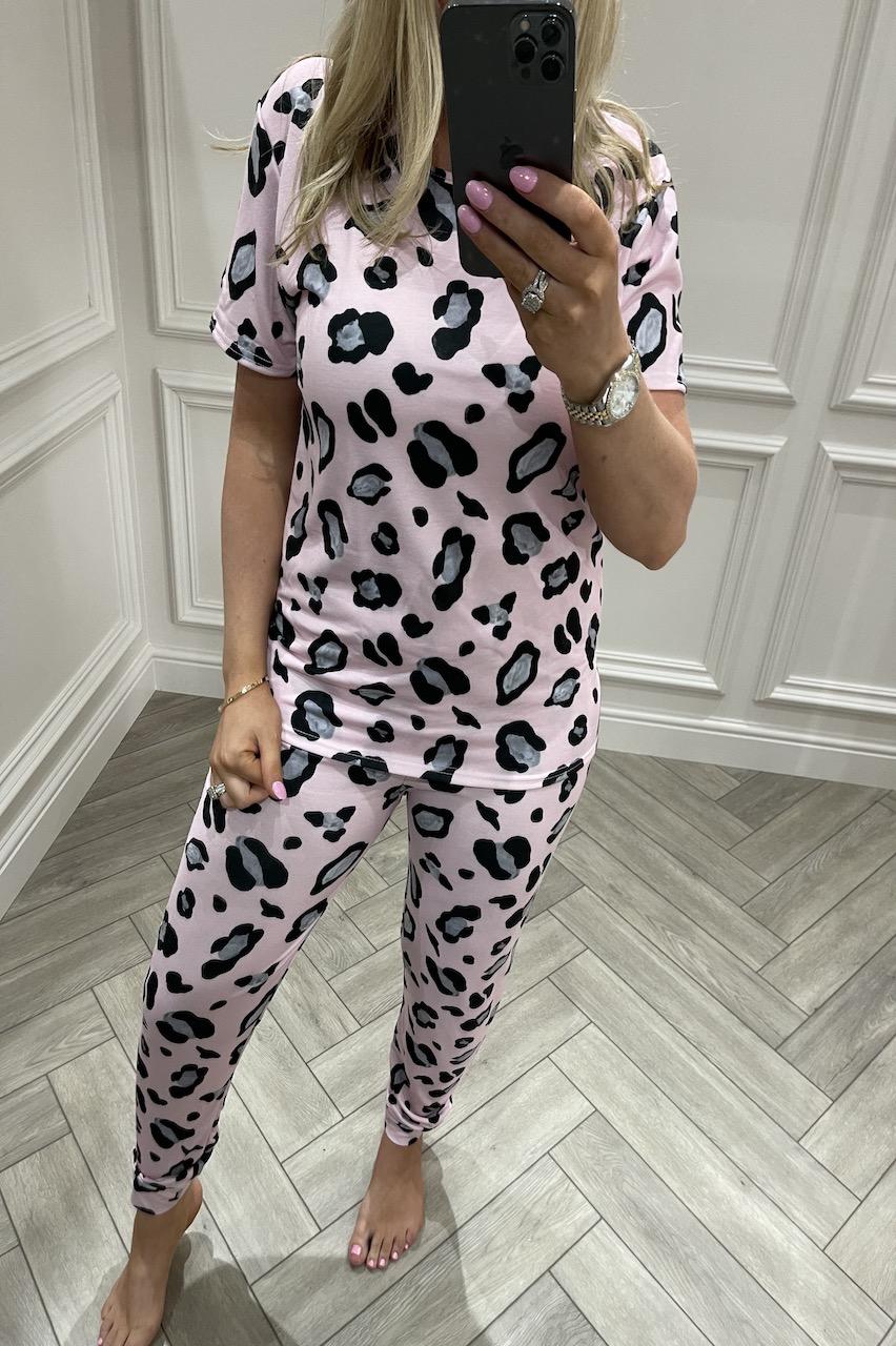 Ladies Pink Leopard Pink Spot Pj's