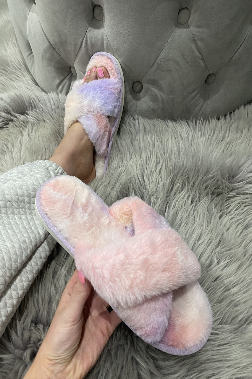 Lilac Ombre Cross Strap Fluffy Slippers