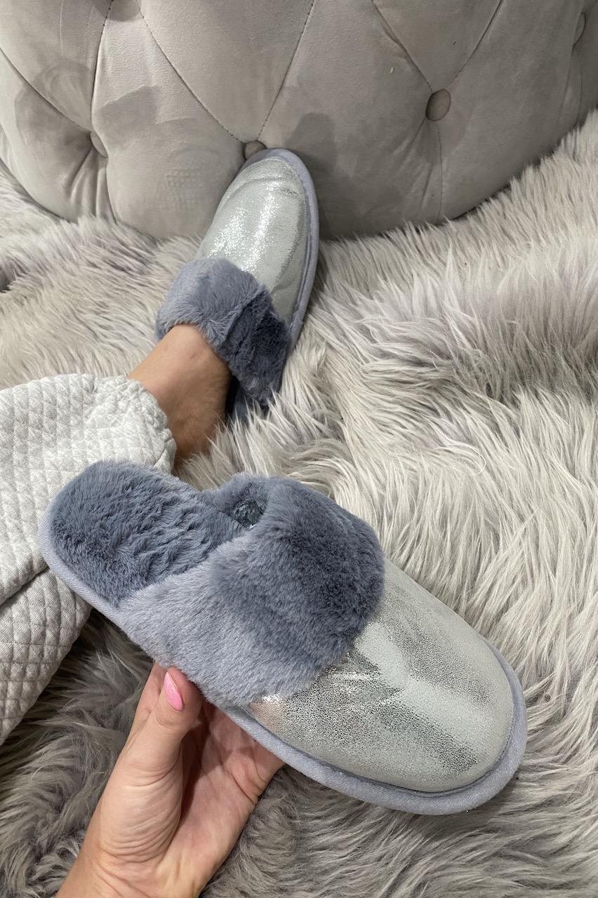 Grey Sparkle Dream Fluffy Slippers
