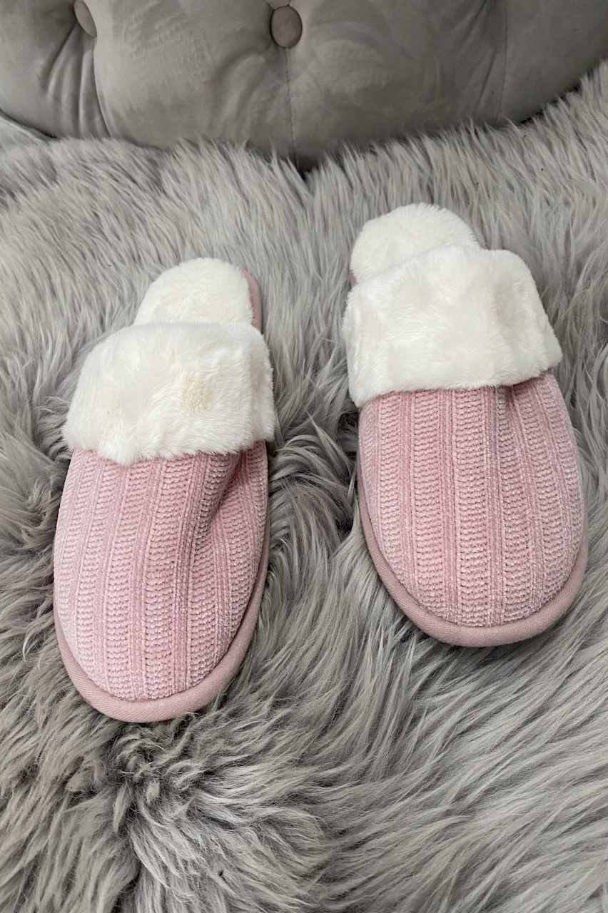 Pink  Knitted Snuggle Up  Fluffy Slippers