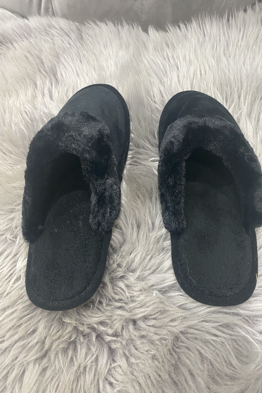 Classic Black Fluffy Slippers
