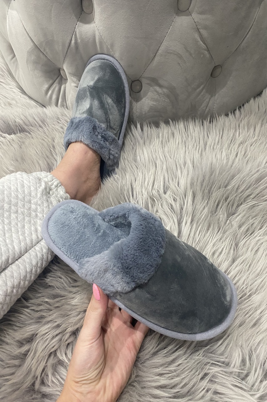 Classic Grey Fluffy Slippers