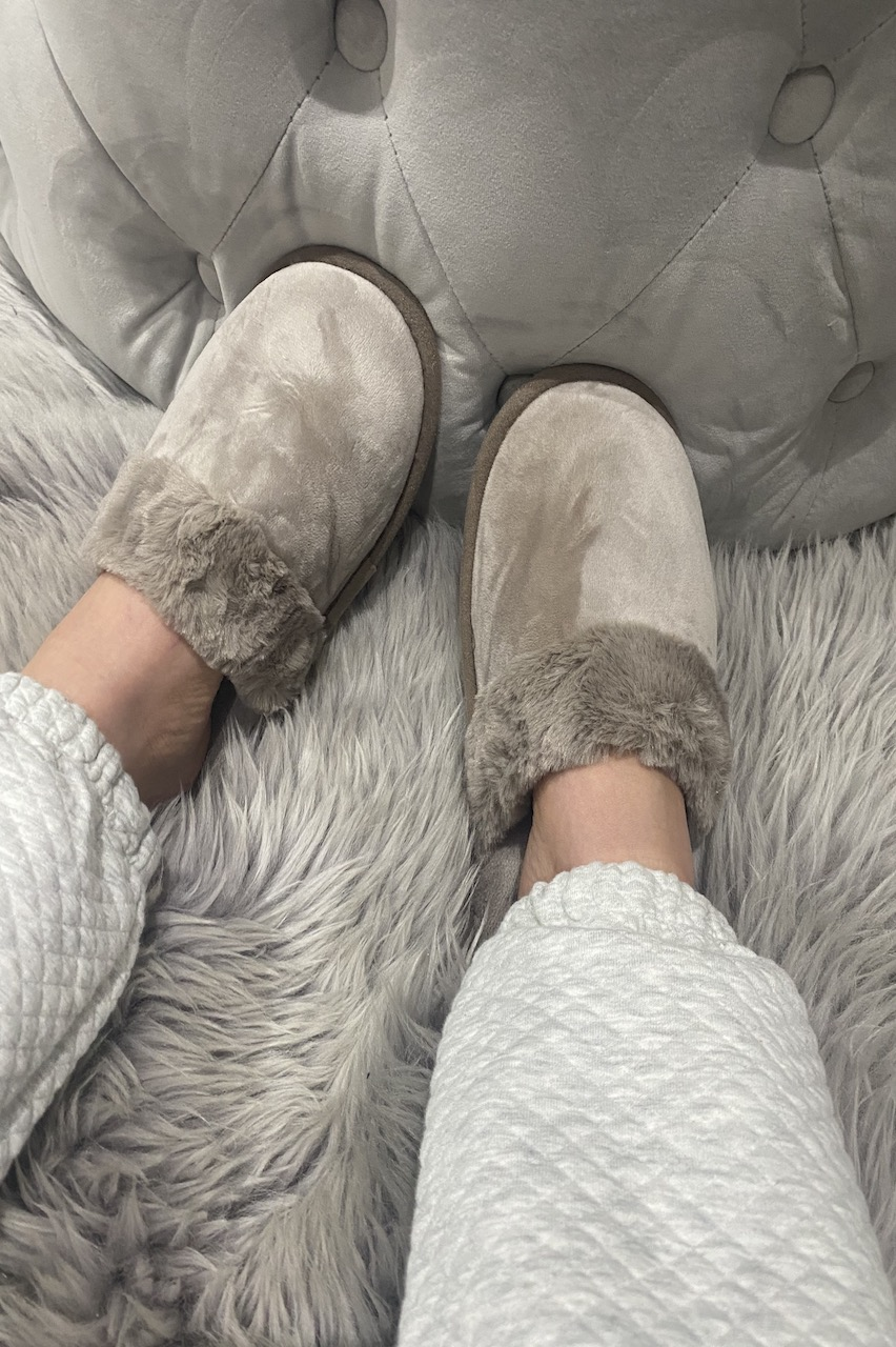 Classic Taupe Fluffy Slippers