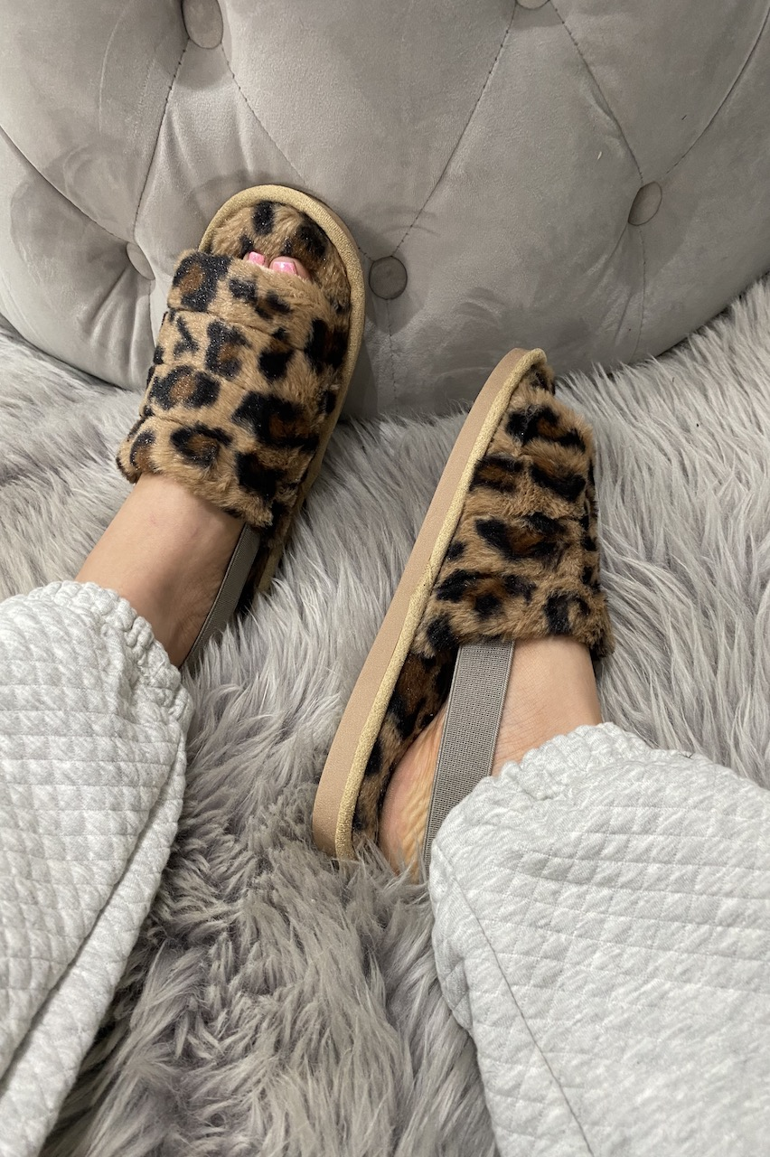 Leopard Kensington  Fluffy Sliders With Elasticated Heel Strap