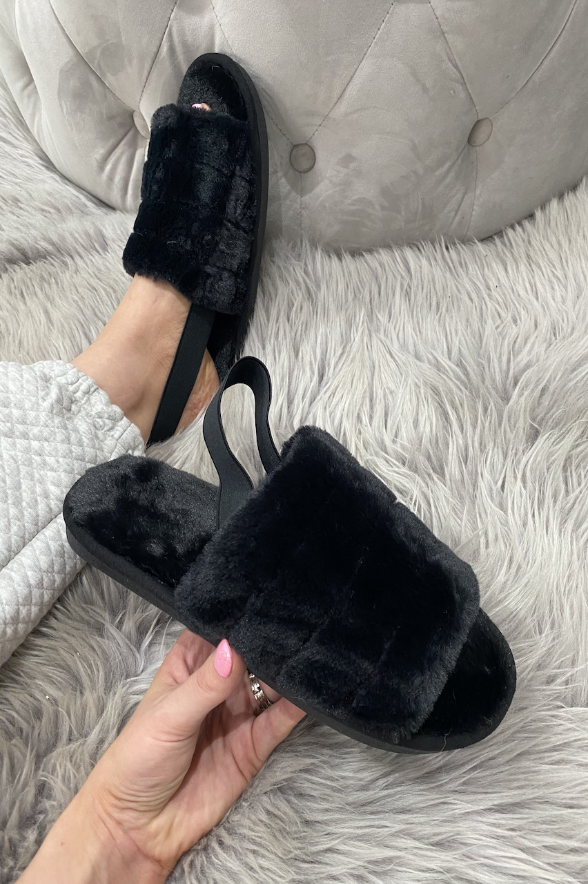 Black Kensington  Fluffy Sliders With Elasticated Heel Strap