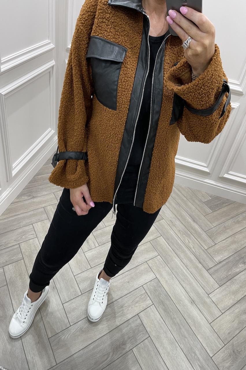 Autumn Tan Jacket With PU Detail