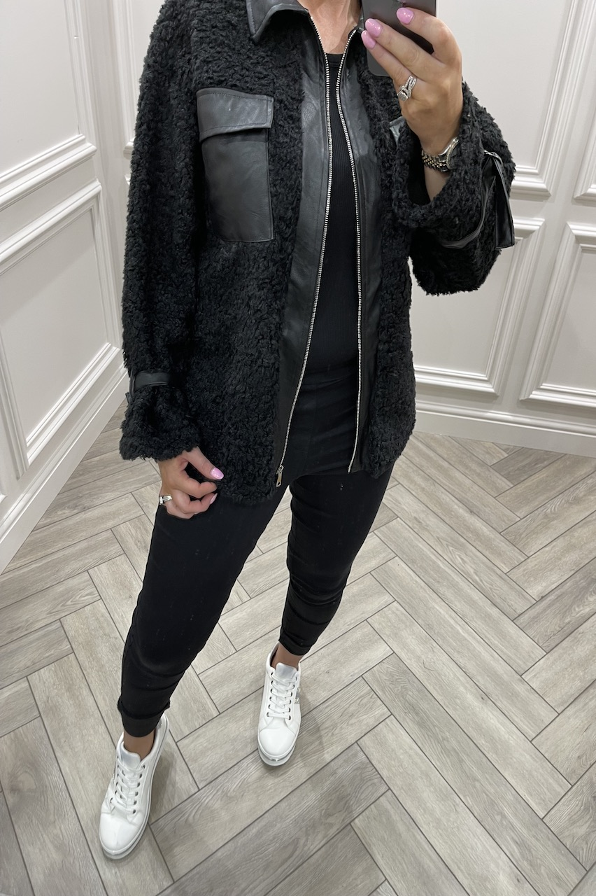 Autumn Black Jacket With PU Detail