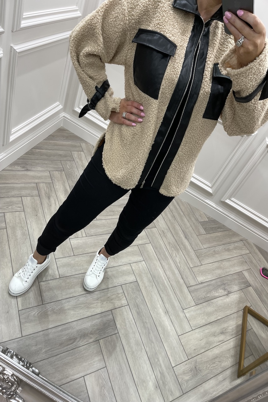 Autumn Cream Jacket With PU Detail