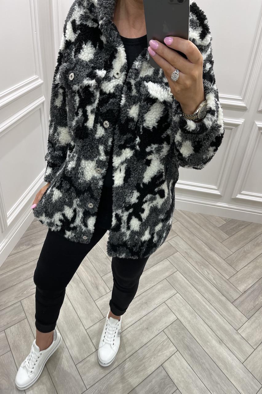 Black Camo Teddy Coat