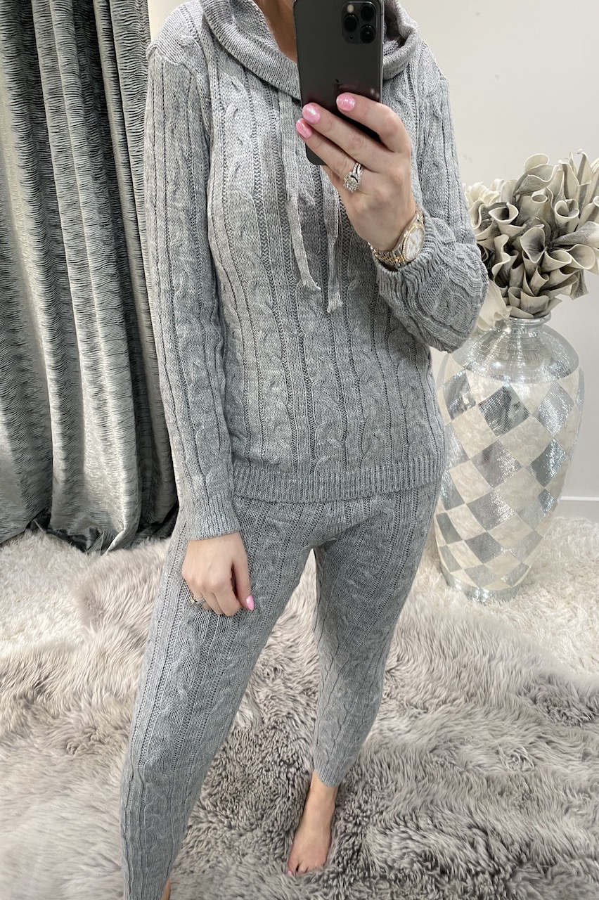 Grey Winter Luxury Cable Knit Loungesuit