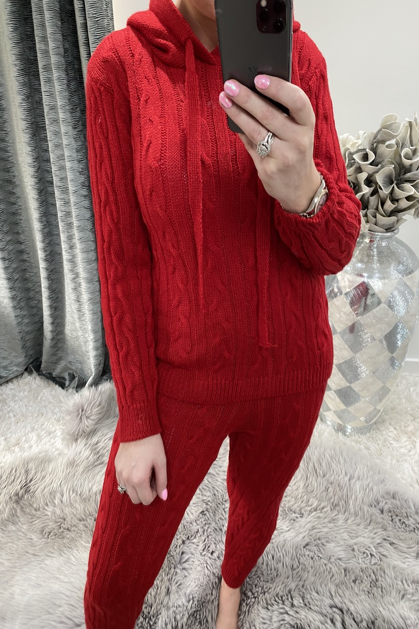 Red Winter Luxury Cable Knit Loungesuit