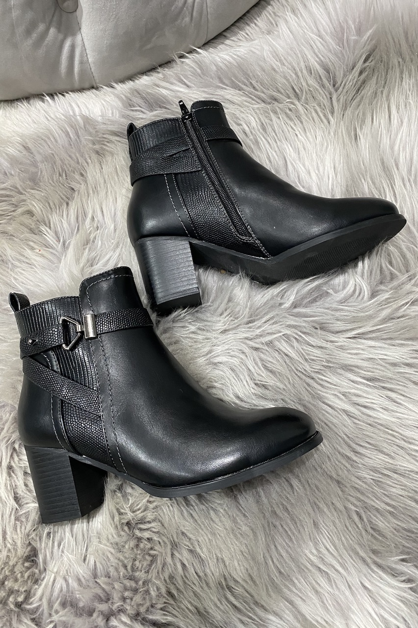 Black Monica Buckle Ankle Boots