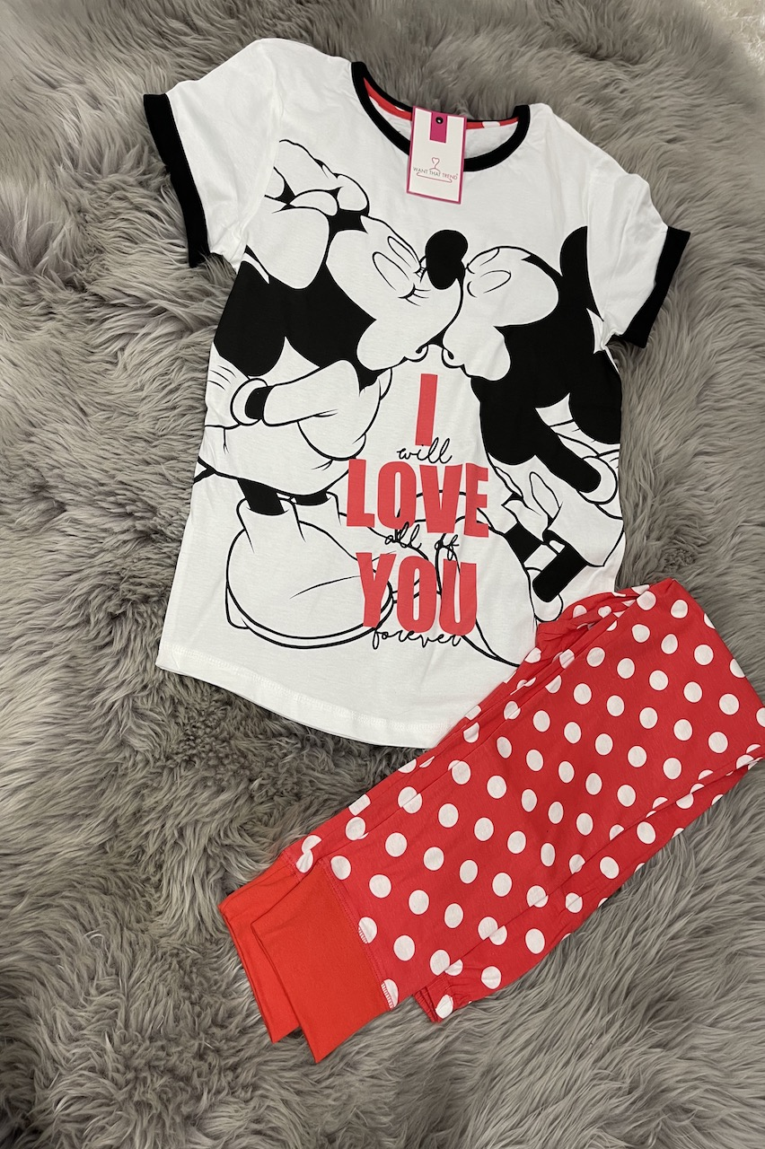 Ladies Minnie Mouse I Love You PJ'S