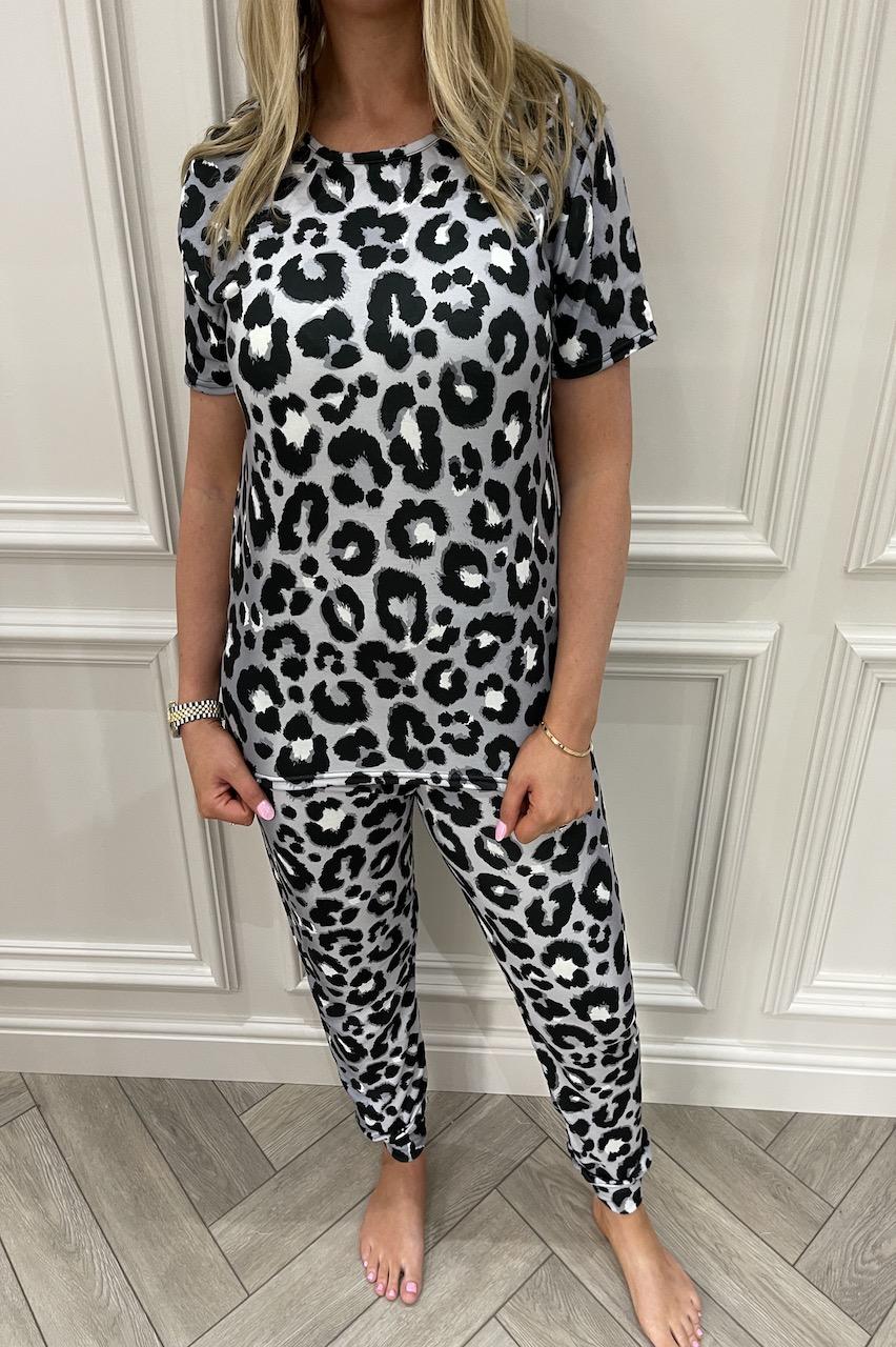 Ladies Grey All Over  Leopard Pj's